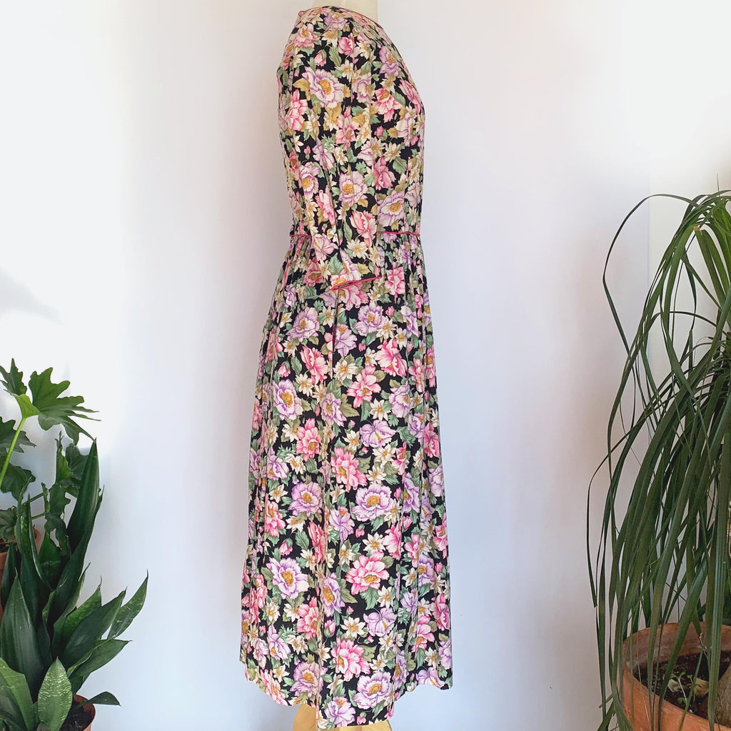 80's Rose Print Long Sleeve Dress