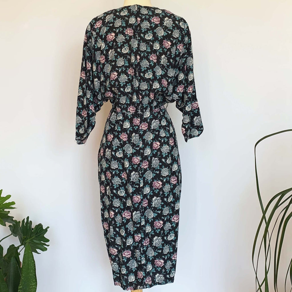 80's Blue Rose Print Long Sleeve Dress