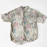 90's Pastel Pink Crackle Foliage Pattern Short Sleeve Button Up