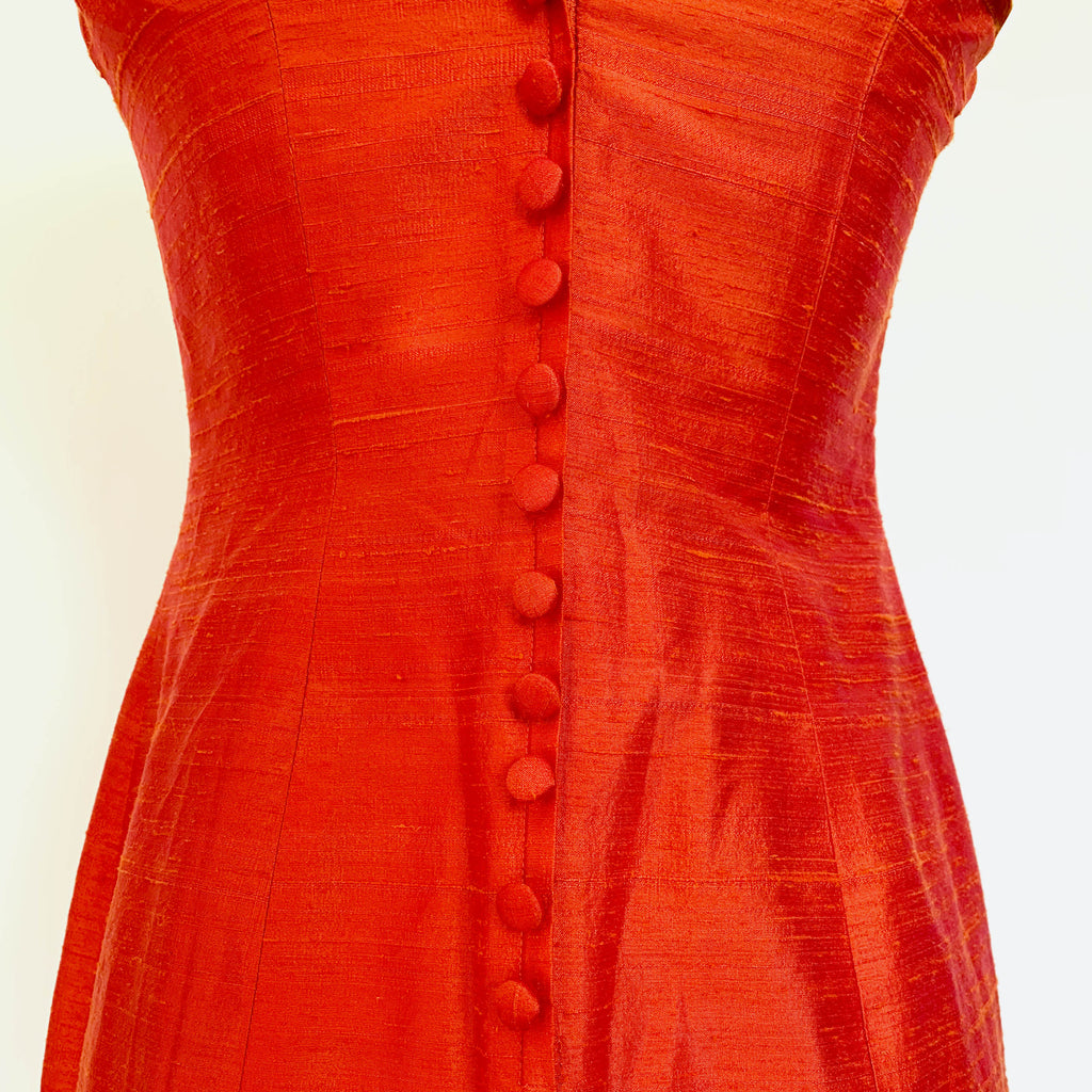 90's Red Silk Spaghetti Strap Mini Dress