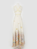 70's Cream Halter Butterfly Dress