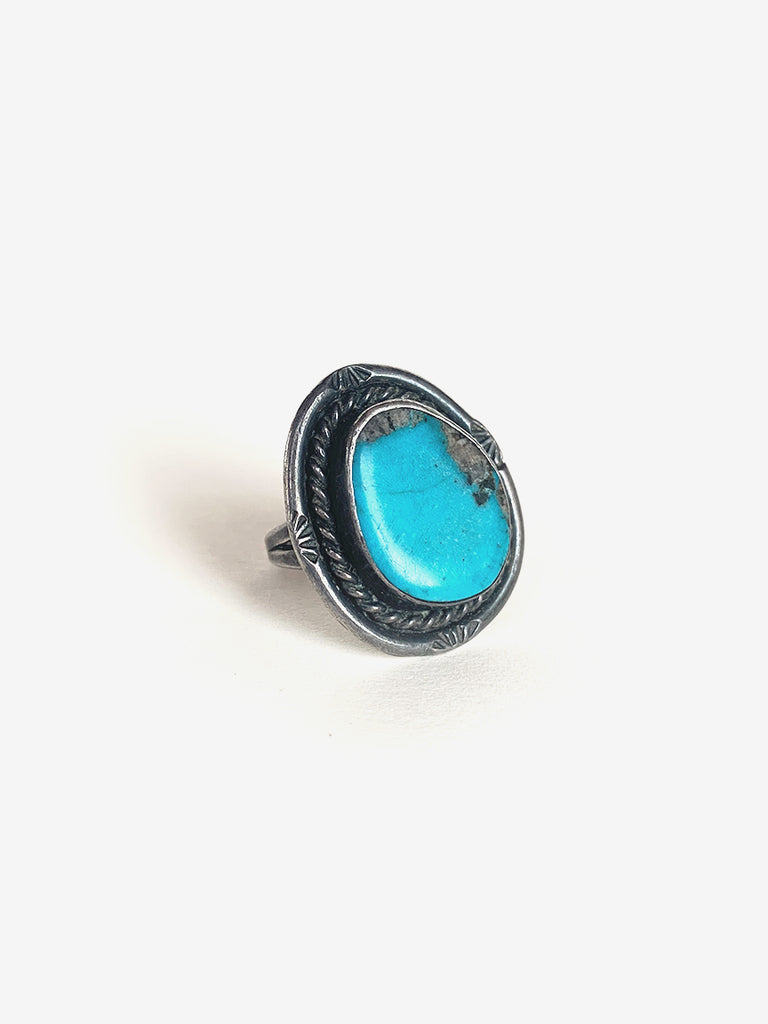 Asymmetrical Oval Silver & Turquoise Ring