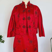 60's Red Satin Dress & Jacket Set