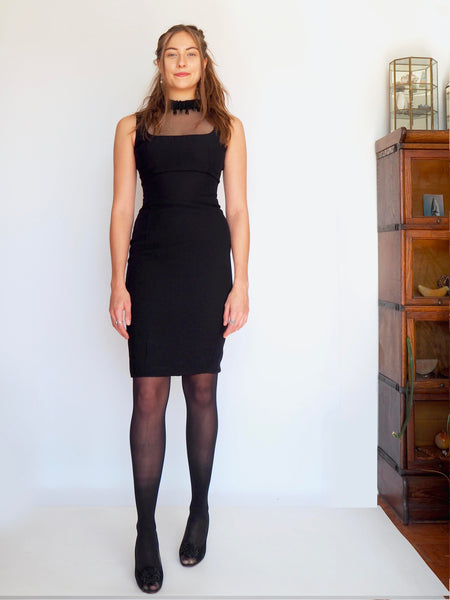 1960's Black Cocktail Dress w/ Sheer Neckline & Beaded Collar