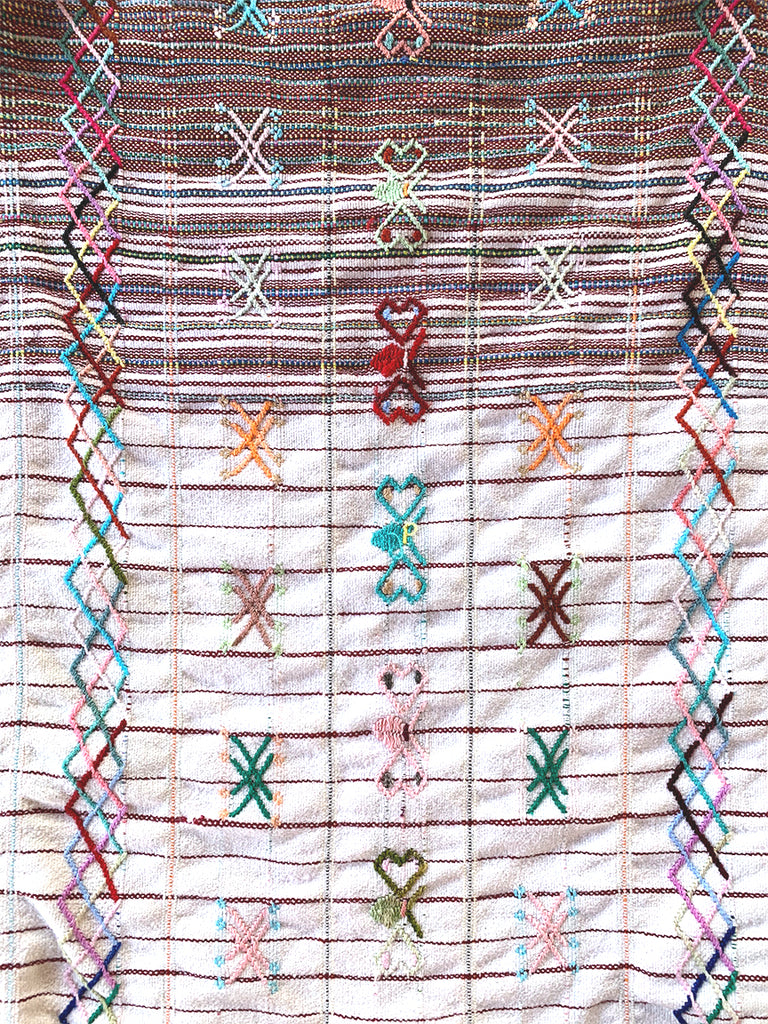 Red & White 'Bee' Woven Huipil