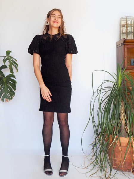 1980's Puffy Sleeve Black Beaded Dress