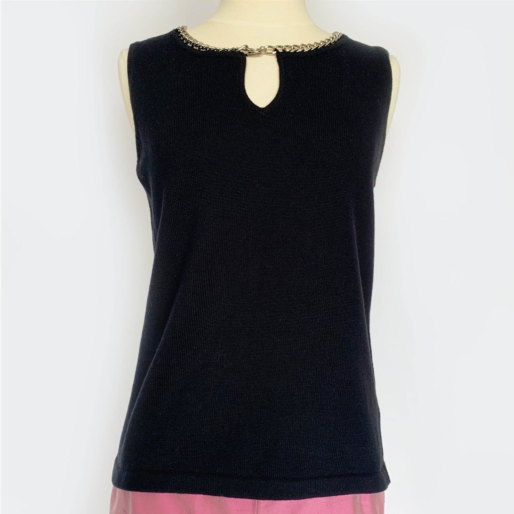 90's Black Knit Chain Tank