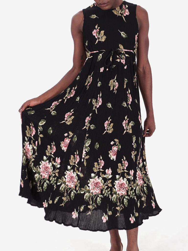 90's Black Floral Sleevless Maxi Dress