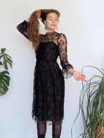 1970s Lace Black Sleeve Dress