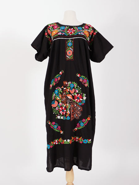 Mexican Black Embroidered Dress