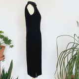 60's Black Velvet Midi Cocktail Dress