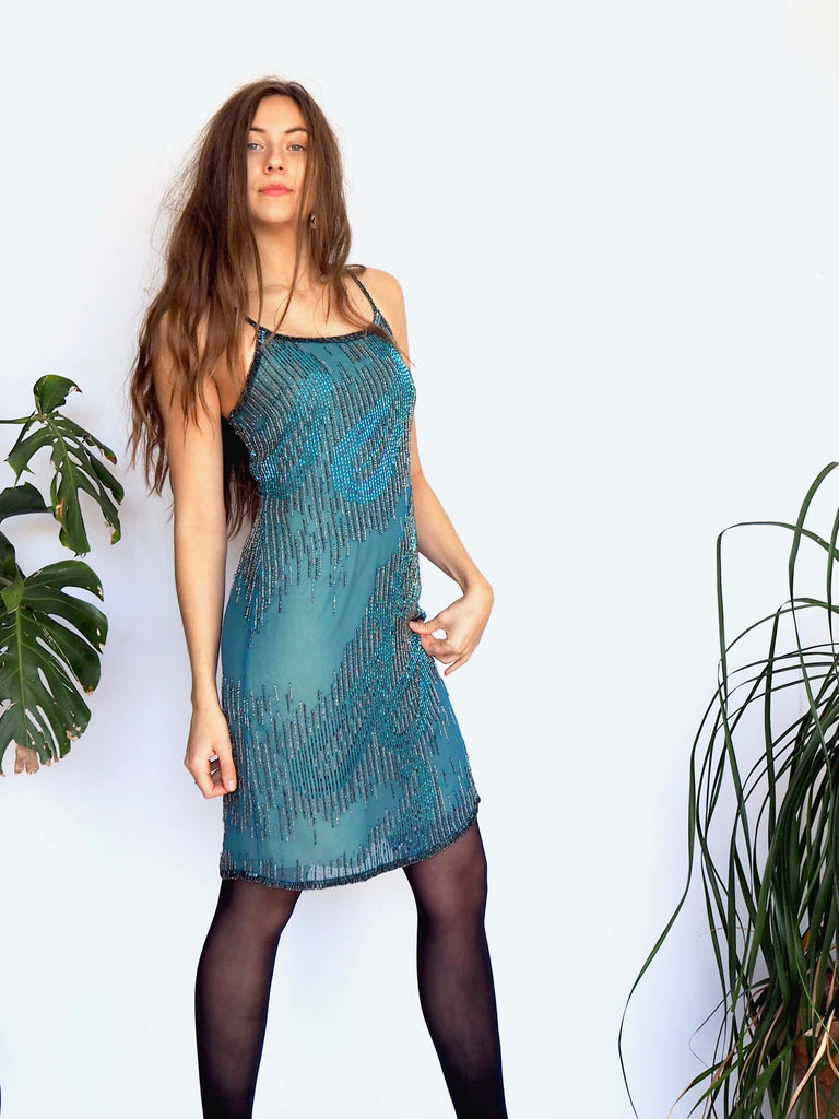 Blue & Silver Beaded Silk Slip Dress