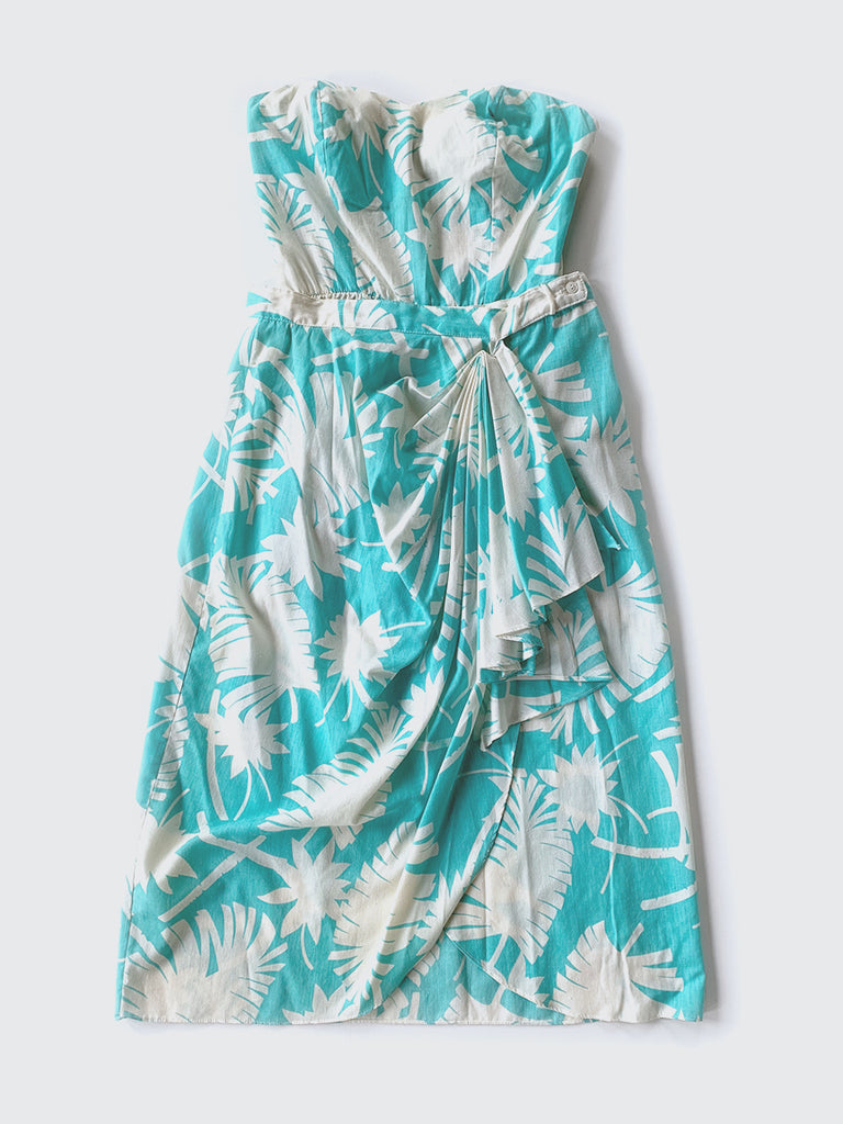 Aqua & White Hawaiian Strapless Romper & Skirt Set