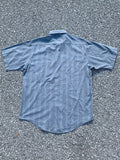 Grey Striped Short Sleeve Button Up