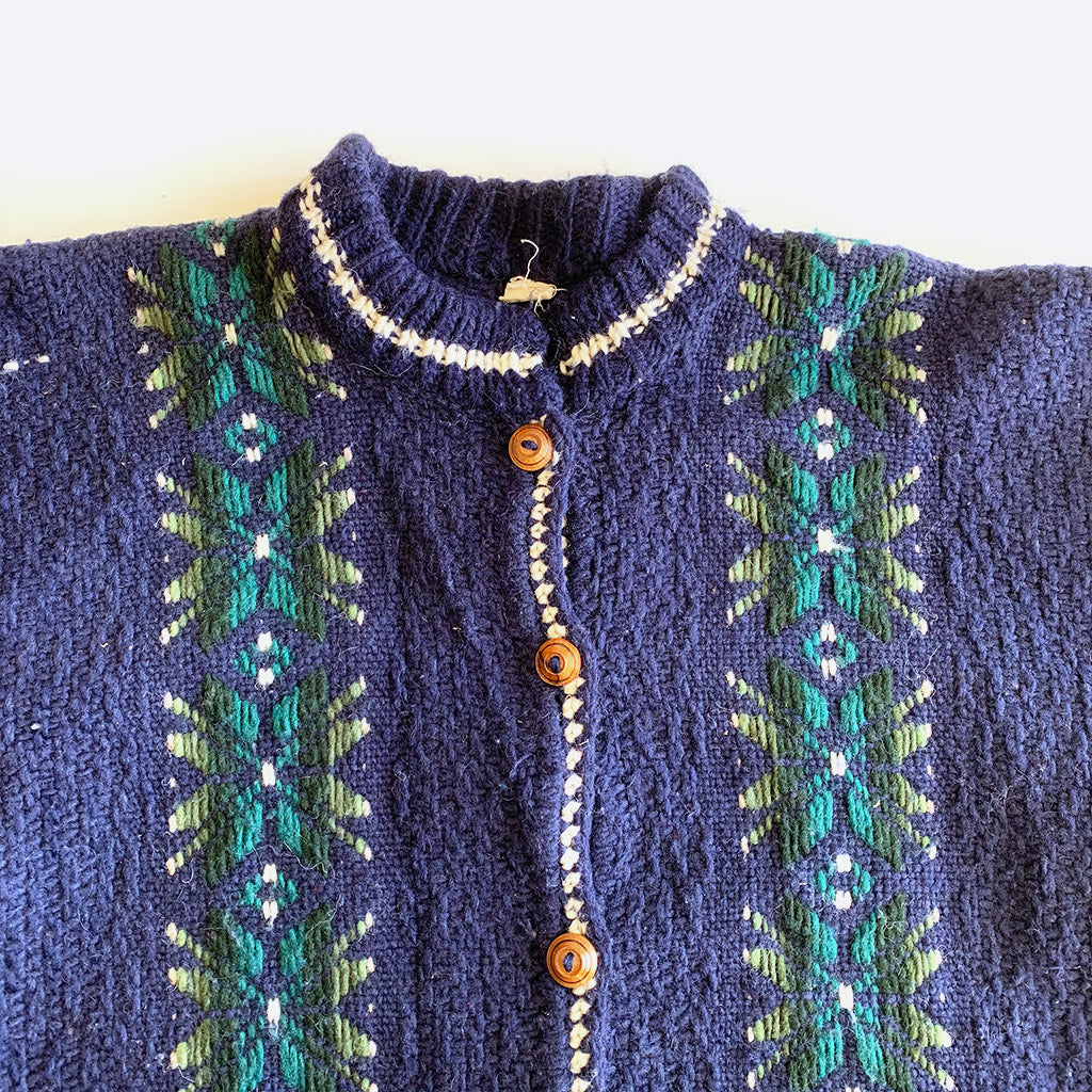 Blue & Green Cable Knit Cardigan Sweater