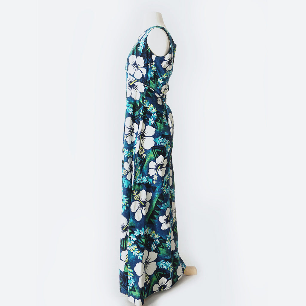 60's Blue & Green Hawaiian Print Maxi Dress