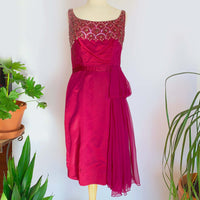 60's Burgundy Sequin Cocktail Dress