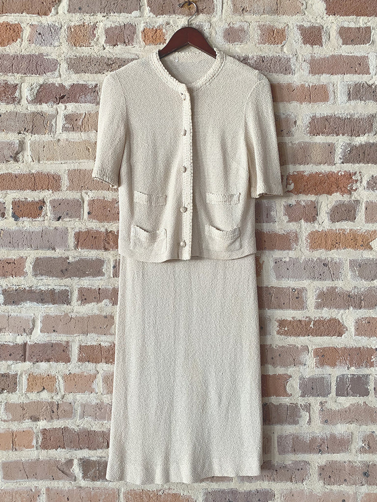 Cream Knit Tank Dress with Sweater Set