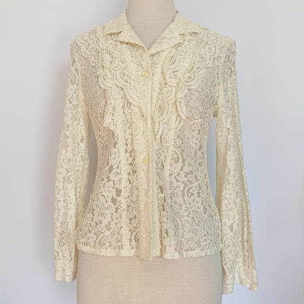 Cream Lace Collar Button Up Blouse