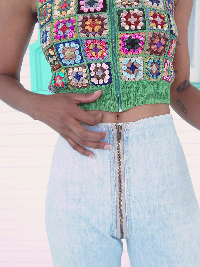 70's Green Knit Sparkle Vest