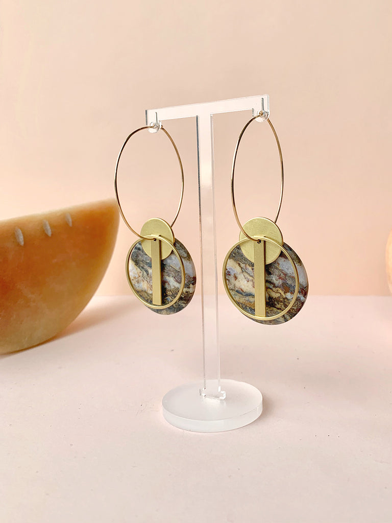 Earth Reverie Stone and Gold Hoop Earrings
