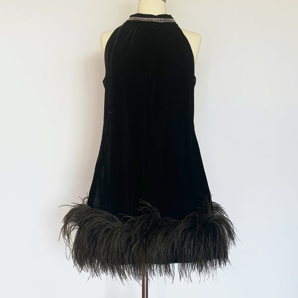Black Velvet Audrey Hepburn Feather Hem Dress