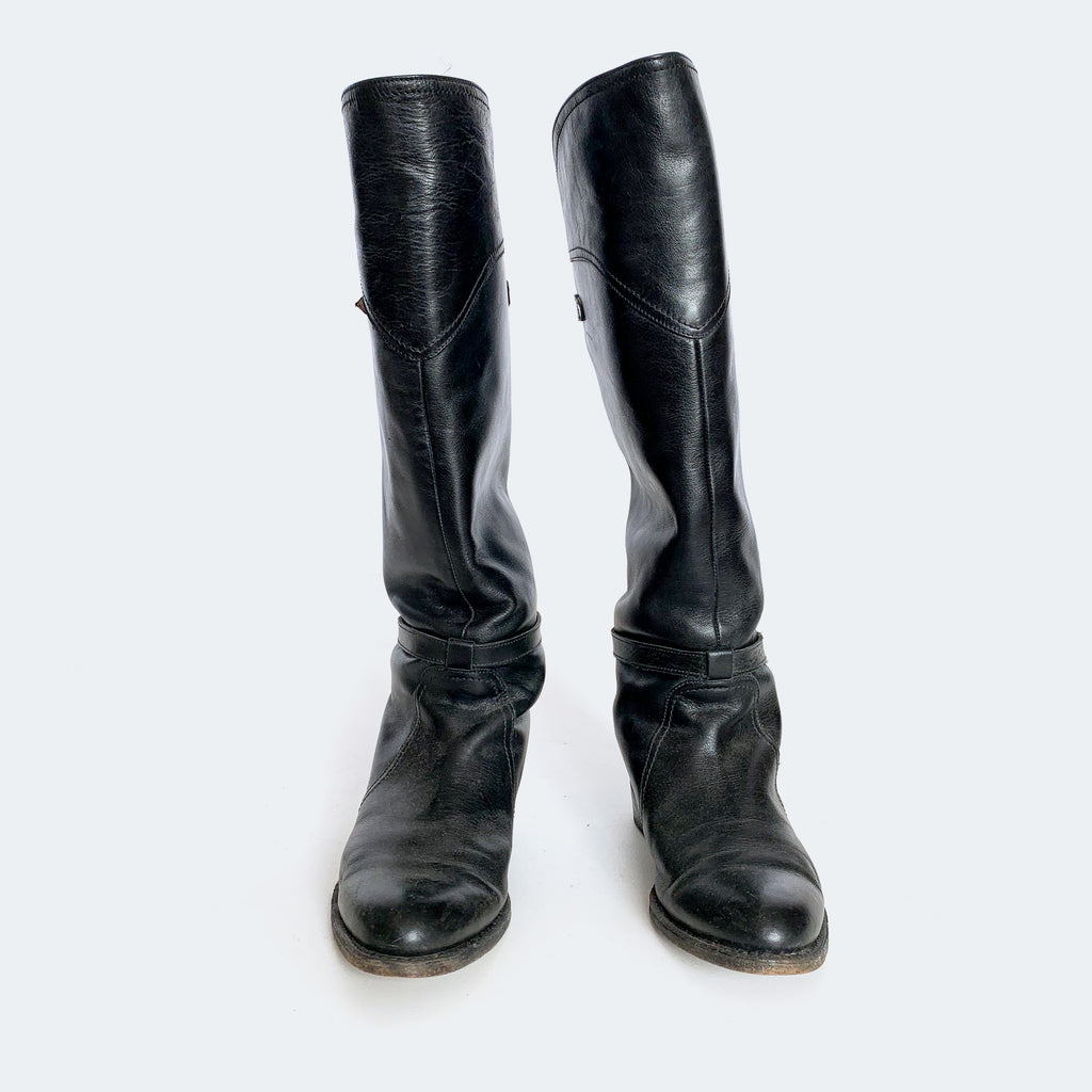 Frye Black Leather Knee High Boots
