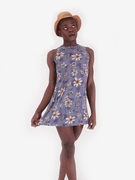 90's Blue Funky Floral Mini Dress