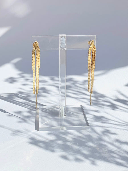 Comet Sparkle Gold Dangle Earrings