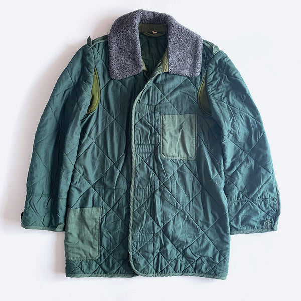 Green Quilted Military Coat