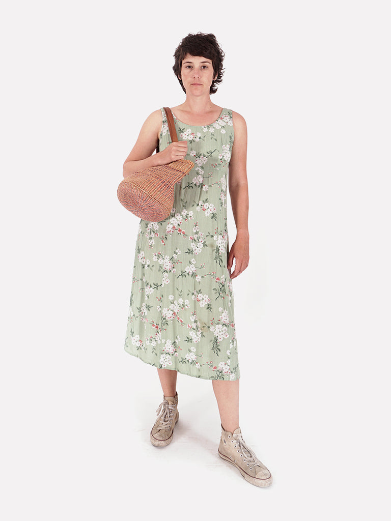 90's Green Floral Sleeveless Dress