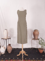 Moss Linen Button Dress
