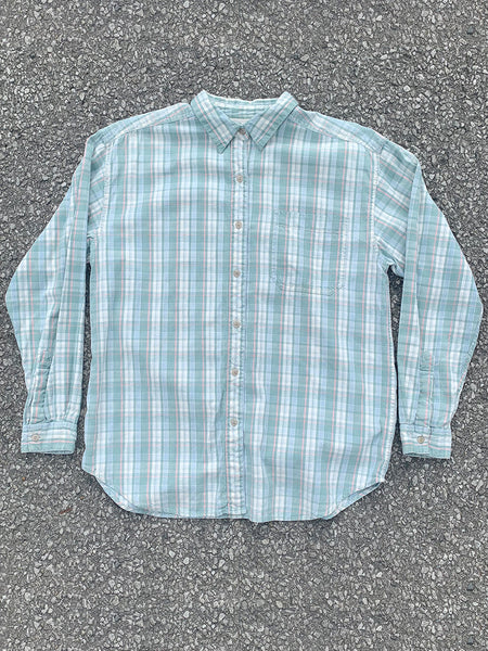 Soft Green Plaid Long Sleeve Button Up