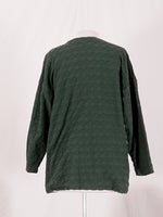 Textured Green Long Sleeve Top