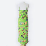 90's Green Fish Print Strap Dress