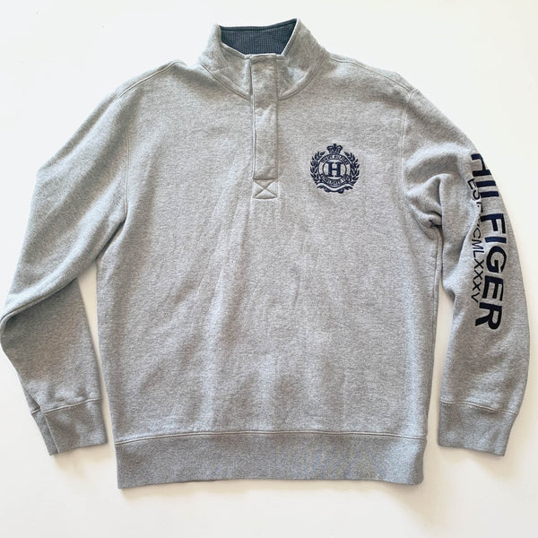Tommy Hilfiger Crest Grey 1/4 Zip Sweatshirt