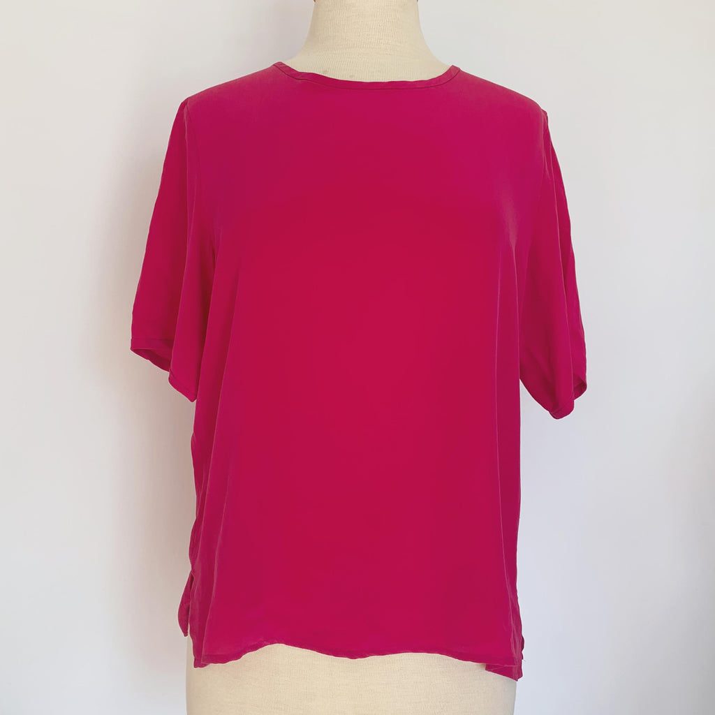 Hot Pink Silk Short Sleeve Blouse