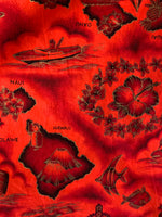 Red Hawaiian Island Print Dress