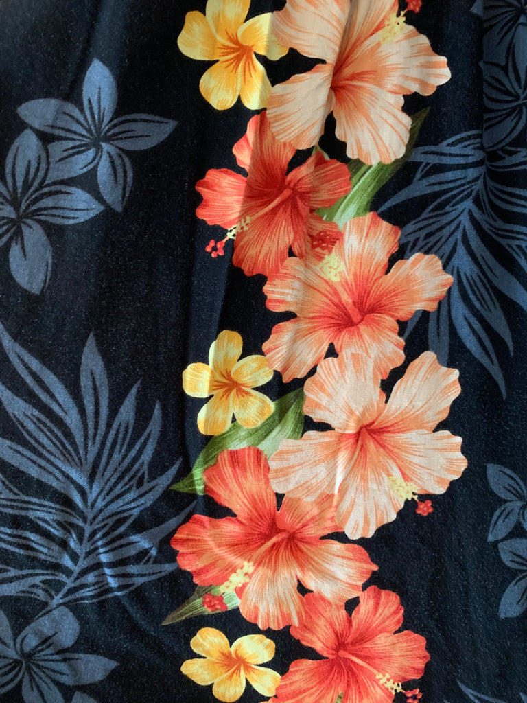 Black & Orange Hawaiian Print Dress