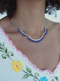 Lapis Scalloped Silver Chain