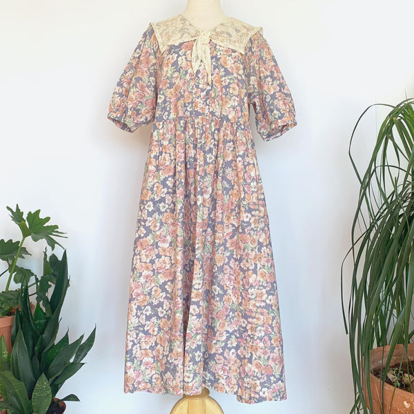 80's Laura Ashley Pink Floral Short Sleeve Dress w/ Lace Collar