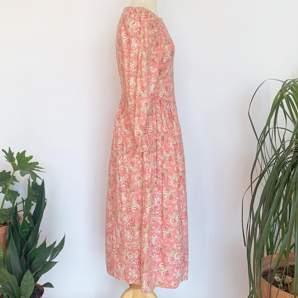 80's Laura Ashley Pink Floral Long Sleeve Dress