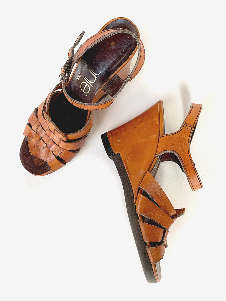 70's Brown Wedge Heels