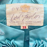 60's 'Lord & Taylor' Teal Long Sleeve Gown