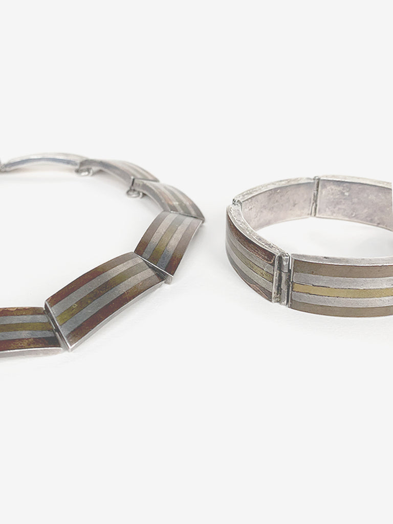 Mixed Metal Striped Necklace & Bracelet Set