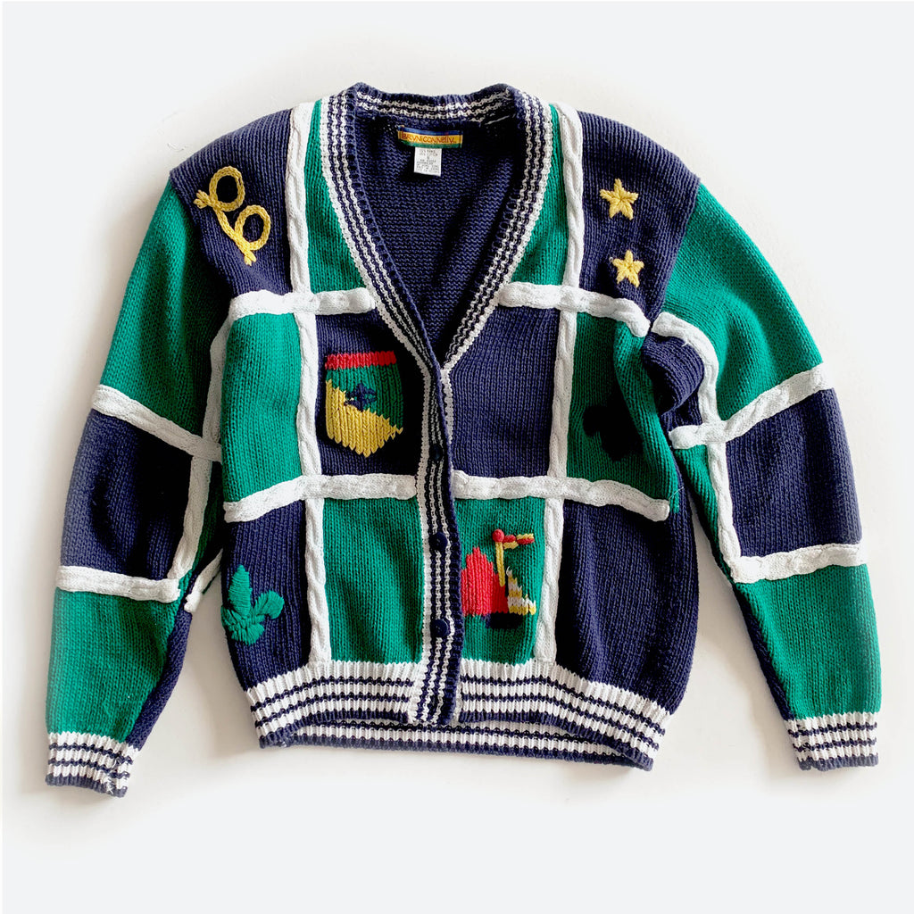 80's Color Block Knit Nautical Sweater