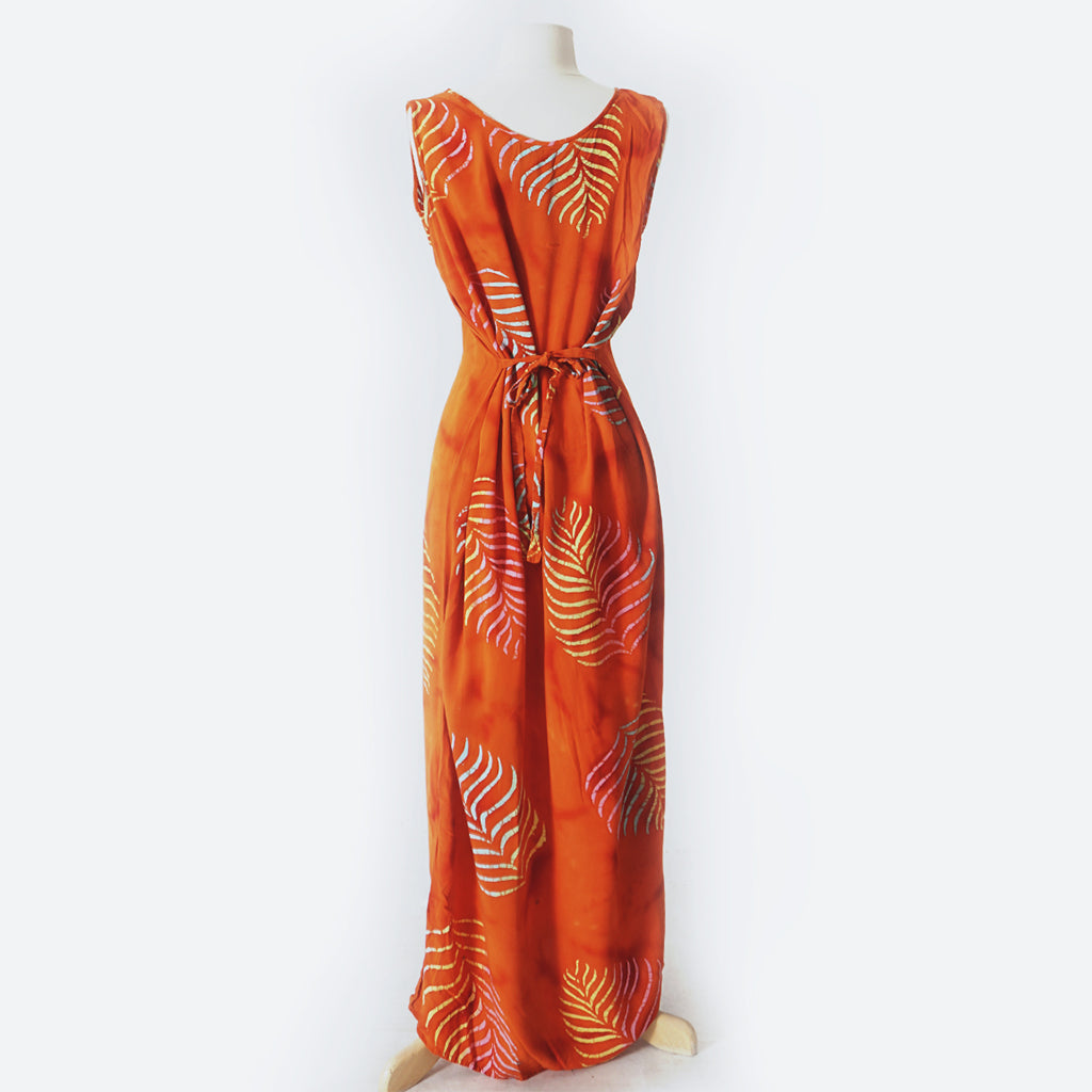Orange Batik Leaf Print Maxi Dress