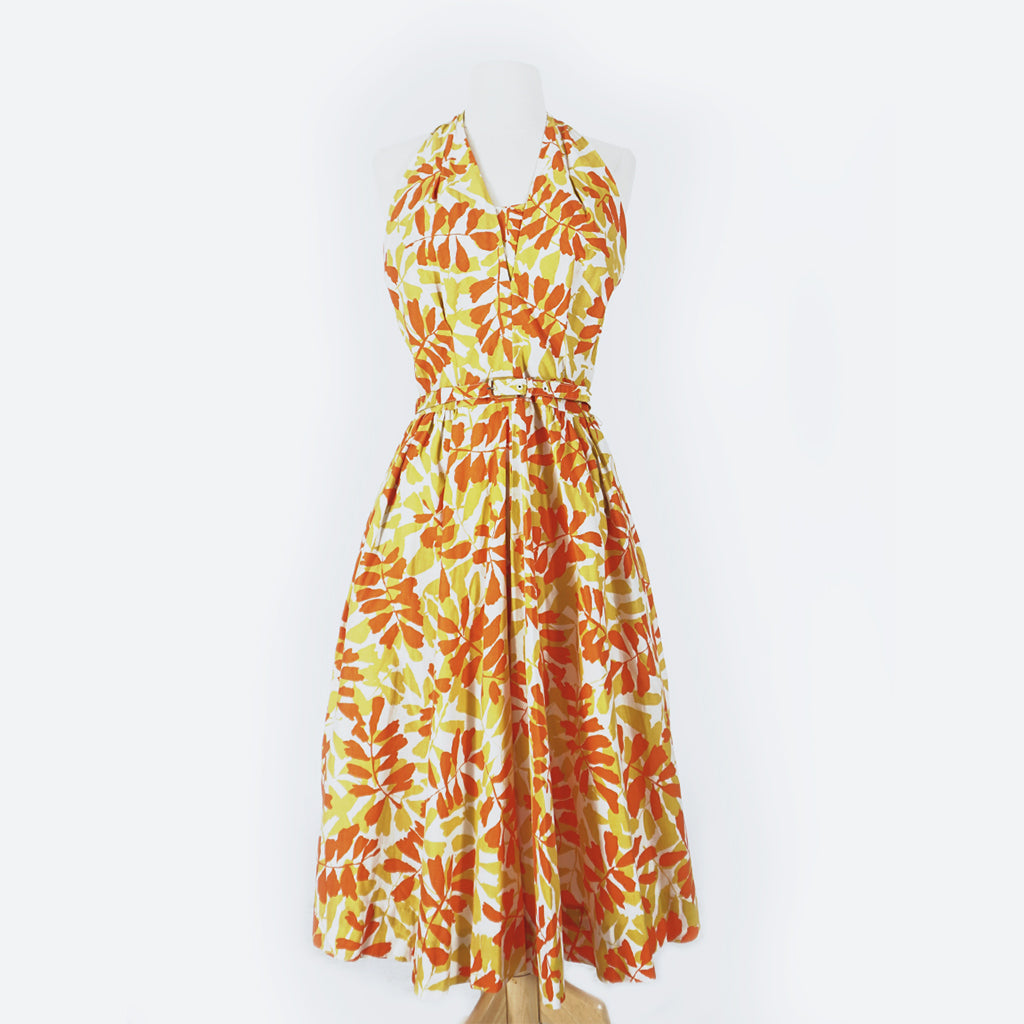 50's Orange & Yellow Floral Halter Dress