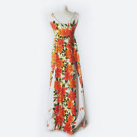 60's Orange & White Hawaiian Print Maxi Dress