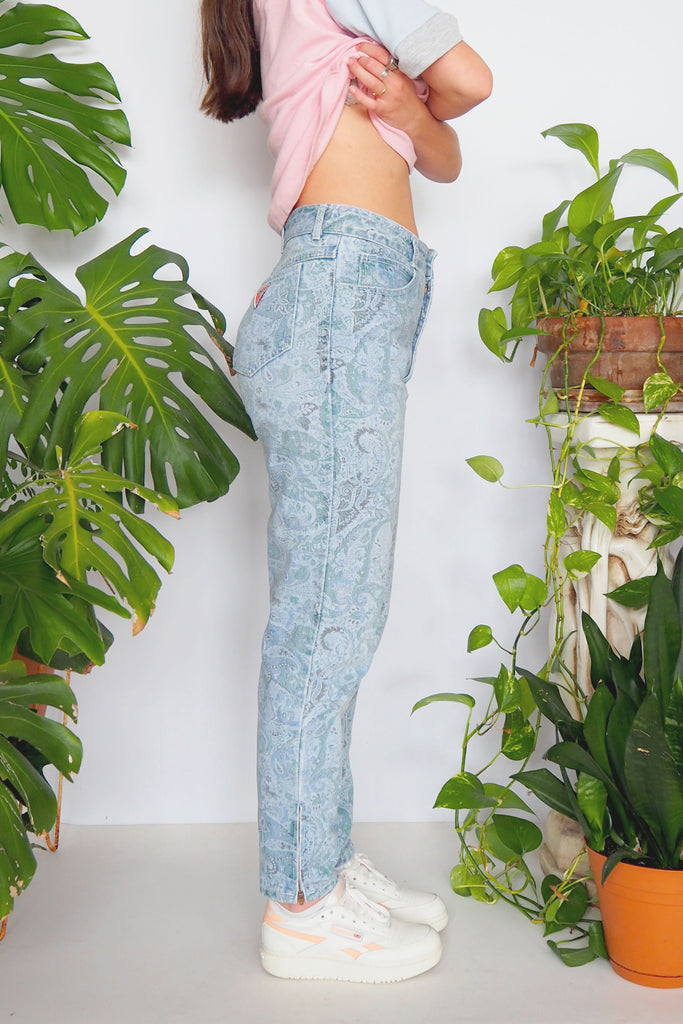 80's Guess Georges Marciano Paisley High Waisted Jeans
